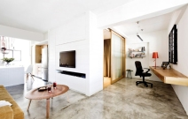 Edgy, minimalist HDB three-roomer